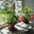 Flowers On The Window by Yury Malkov