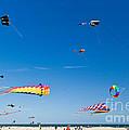 Flying Kites At St Augustine Beach Pier by Michelle Wiarda-Constantine