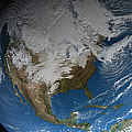 Ful Earth Showing Simulated Clouds by Stocktrek Images