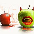 Funny Satirical Digital Image Of Red And Green Apples Strange Fruit by Sassan Filsoof