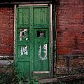 Green Door On Red Brick Wall by Amy Cicconi