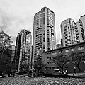 Green Space In Front Of High Rise Apartment Condo Blocks In The West End Between Robson And West Geo by Joe Fox