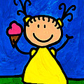 Happi Arte 3 - Little Girl Ice Cream Cone Art by Sharon Cummings