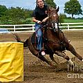 Horse And Rider In Barrel Race by Amy Cicconi