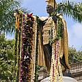 Kamehameha Covered In Leis by Brandon Tabiolo