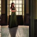 Lady In Green Gown By Window by Jill Battaglia