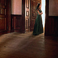 Lady In Green Gown In Doorway by Jill Battaglia