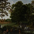 Landscape With A Courtly Procession Before Abtspoel Castle by Esaias I van de Velde