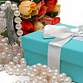 Little Blue Gift Box With Pearls And Flowers by Amy Cicconi