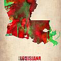 Louisiana Watercolor Map by Naxart Studio