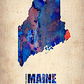 Maine Watercolor Map by Naxart Studio