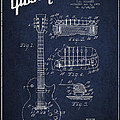 Mccarty Gibson Les Paul Guitar Patent Drawing From 1955 - Navy Blue by Aged Pixel