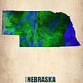 Nebraska Watercolor Map by Naxart Studio