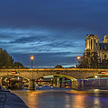 Notre Dame de Paris in the evening lights