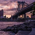 Nyc- Manhatten Bridge At Night by Hannes Cmarits
