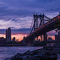 Nyc - Manhatten Bridge At Night II by Hannes Cmarits