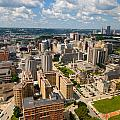 Oakland Pitt Campus With City Of Pittsburgh In The Distance by Amy Cicconi