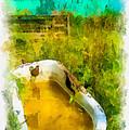 Old Bathtub Near Painted Barn by Amy Cicconi