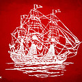 Pirate Ship Artwork - Red by Nikki Marie Smith