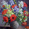Poppies And Irises by Anthea Durose