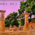 Ruins At Olympus Greece by John Malone