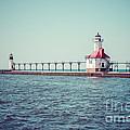 Saint Joseph Michigan Lighthouse Retro Picture  by Paul Velgos