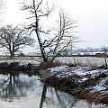 Snow Scene With River Running Through by Fizzy Image