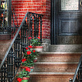 Spring - Porch - Hoboken Nj - Geraniums On Stairs by Mike Savad