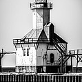 St. Joseph Lighthouse Black And White Picture  by Paul Velgos
