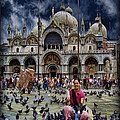 St Mark's Basilica - Feeding The Pigeons by Lee Dos Santos