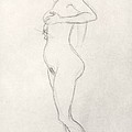 Standing Nude Girl Looking Up by Gustav Klimt