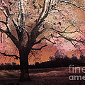 Surreal Gothic Fantasy Trees Pink Sky Ravens by Kathy Fornal