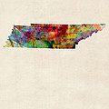 Tennessee Watercolor Map by Michael Tompsett