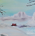 The Old Red Barn In Winter by Alys Caviness-Gober