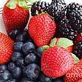 Three Fruit - Strawberries - Blueberries - Blackberries by Barbara Griffin