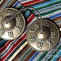 Tibetan Prayer Bells On Woven Scarf by Anna Lisa Yoder