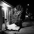 Traditional House With Porch Light Outside The Door And Snow Cleared Pavements At Night Delisle Sask by Joe Fox