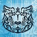 Tribal Tattoo Design Illustration Poster Of Snow Leopard by Sassan Filsoof