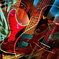 Triple Header Digital Banjo And Guitar Art By Steven Langston by Steven Lebron Langston
