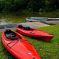 Two Red Kayaks by Amy Cicconi