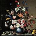 Vase Of Flowers By A Window by Balthasar Van Der Ast