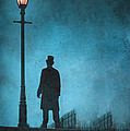 Victorian Man Standing Next To An Illuminated Gas Lamp by Lee Avison