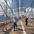 Walkers And Joggers On The Brooklyn Bridge by Amy Cicconi
