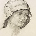 Woman In Hat, Detail From A Sketchbook by Sir Edward Coley Burne-Jones