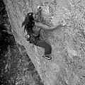 A Caucasian Women Rock Climbing by Bobby Model
