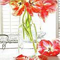 Beautiful Tulips In Old Milk Bottle  by Sandra Cunningham