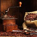 Antique Coffee Grinder With Beans by Sandra Cunningham