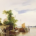 Barges On A River by Richard Parkes Bonington