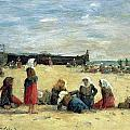 Berck - Fisherwomen On The Beach by Eugene Louis Boudin