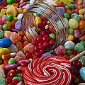 Candy Jar Spilling Candy by Garry Gay